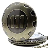PriMI – Taschenuhr im Retro-Stil, Quarz-Uhrwerk, Taschenuhr, Fallout 4,Anhänger, Vault 111,Bronze