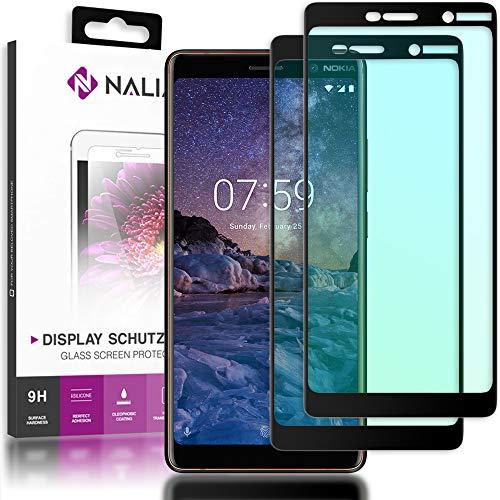 NALIA (2-Pack) Schutzglas kompatibel mit Nokia 7 Plus, 9H Full-Cover Bildschirm Schutz Glas-Folie, Dünne Handy Schutzfolie Display-Abdeckung, Schutz-Film HD Screen Protector - Transparent (schwarz)
