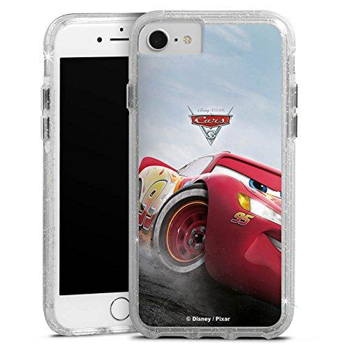 Apple iPhone 7 Plus Bumper Hülle Bumper Case Glitzer Hülle Lightning Mcqueen Cars 3 Disney Cars Bumper Case Glitzer silber