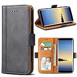 Bozon Galaxy Note 8 Hülle, Leder Tasche Handyhülle für Samsung Galaxy Note 8 Flip Wallet Schutzhülle mit Ständer & Kartenfächer/Magnetverschluss (Dunkel-Grau)