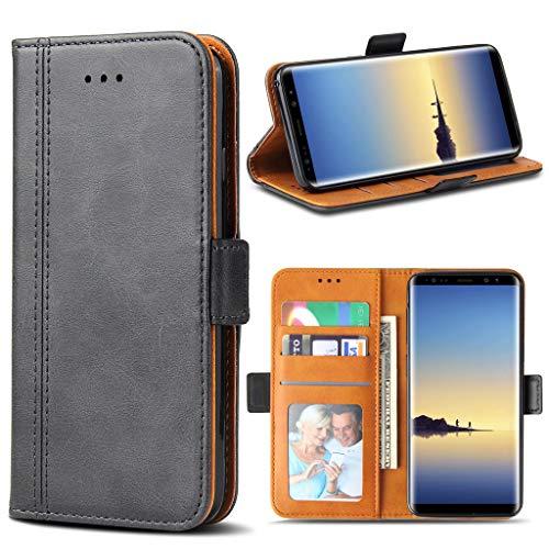 Bozon Galaxy Note 8 Hülle, Leder Tasche Handyhülle für Samsung Galaxy Note 8 Flip Wallet Schutzhülle mit Ständer und Kartenfächer/Magnetverschluss (Dunkel-Grau) - 3 Holster Samsung Für Note