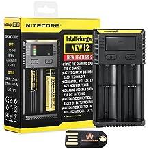 Nitecore Nueva i2 (2016 versión) Cargador de batería inteligente inteligente cargador universal para Li-ion / IMR / Ni-MH / Ni-Cd 26650 22650 18650 18490 18350 17670 17500 17335 16340 RCR123 14500 10440 AA AAA tipos AAAA C D con WINGONEER luz LED USB