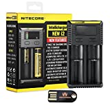 Nitecore New i2 (2016 Version) Intelligent Charger Universal Smart-Ladegerät mit WINGONEER USB-LED-Licht