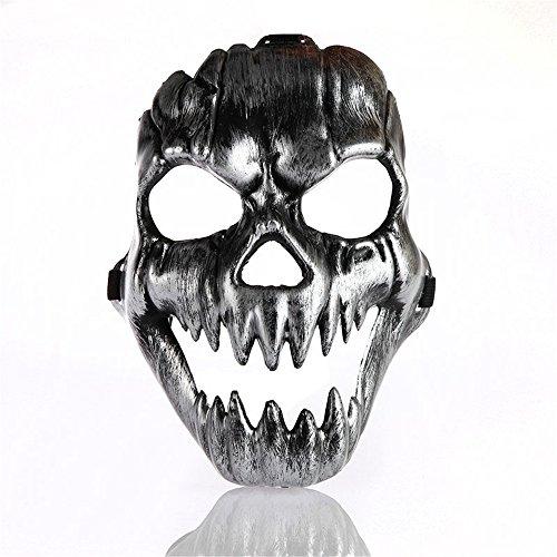 Maskerade,Skull Warrior Full Face Geisterkopf Horror Maske Silber (Masquerade Handschuhe)