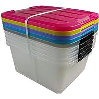 Caja de almacenamiento x 5, caja de almacenaje, caja con asas, caja plastico negro, caja con tapa, caja organizadora, caja apilable 15 litros - 15 Litros - Muebles de Dormitorio precios