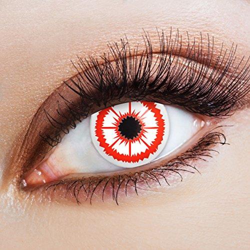 Gruselige weiße Halloween Kontaktlinsen rot zum Zombie Kostüm / Horror (Kostüm Flucht Halloween Der Auf)