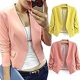 Mose Women's Casual Long Sleeve Lapel Slim Suit Outwear Blazer Coat