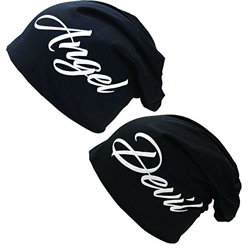 #Angel & Devil Beanie Long Slouch Mütze Partner Look Wintermütze Baumwolle (Angel Devil Black Set)#