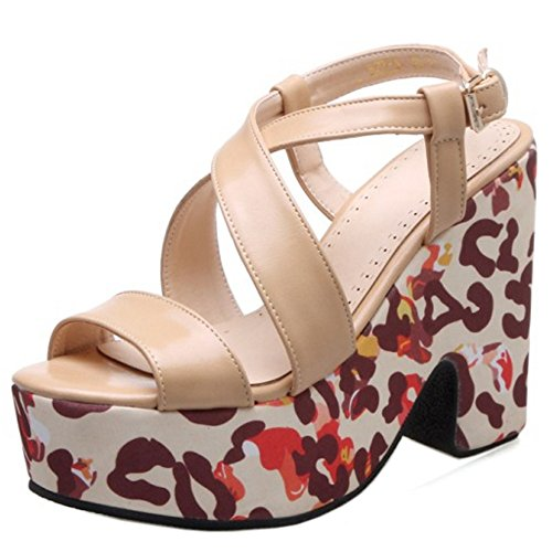 TAOFFEN Femmes Mode Peep Toe Sandales Bloc Talons Hauts Plateforme Slingback Chaussures De Boucle Abricot