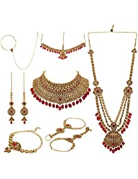 Nishivjewels Traditional Red Color Complete Bridal Set For Women