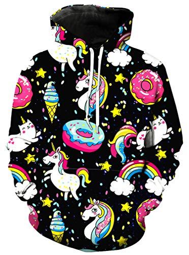Ocean Plus Mädchen Einhorn Kapuzenpullover Hoodie Meerjungfrau Kapuzenpulli mit Aufdruck Kinder Sweatshirt Pullover (S (Körpergröße: 105-115cm), Donut Einhorn)