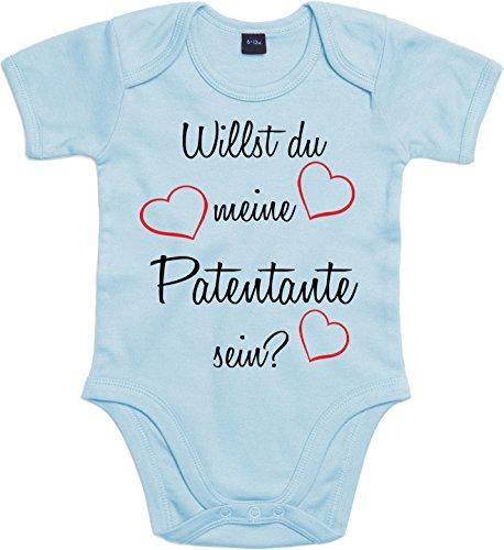 Mister Merchandise Baby Body Willst du meine Patentante sein? Strampler liebevoll bedruckt Pate Patenschaft Taufe Hellblau, 0-3