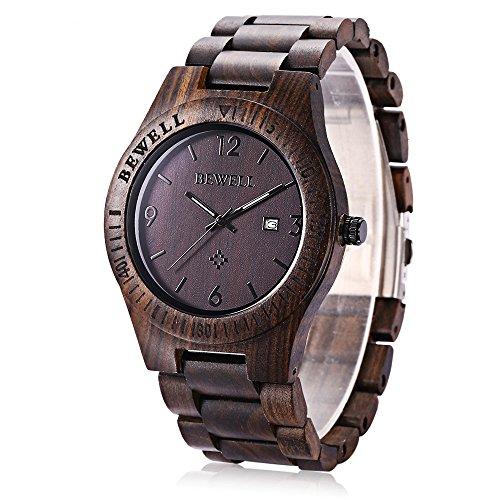 GBlife Bewell ZS - W086B Orologio da polso per Uomo in Legno Handmade leggero al quarzo orologio da uomo Analogico Digitale Classico Naturale (Ebano)