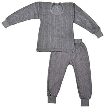 kuchipoo Unisex Regular Fit Thermal Top and Pyjama Set (KUC-THR-104_6-12 months_Grey)