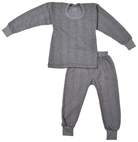 kuchipoo Unisex Regular Fit Thermal Top and Pyjama Set (KUC-THR-104_12-24 months_Grey)