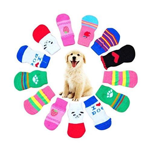 Tuxedo 4 Stück Kostüm (Haustier Kleidung Rosennie 4 Stücke Nette Welpen Hunde Pet Knits Socken Anti Slip Skid Bottom hundefutter hundespielzeug reisen mit hund haustier hund pflegeleichte haustiere (L, Zufällige)