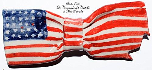Fliege Keramik Flag Linie USA Piece Unique Hergestellt und von Hand bemalt Le Ceramiche del Castello Made in Italy Maße: 10 x 4 (Kostüme In Den Hergestellt Usa)