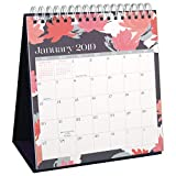 """AT-A-GLANCE Desk Pad Calendar, January 2019 - December 2019, Easel, Wirebound, 6-1/8"""" x 8-1/4"""", Badge Floral (W1148B-713)"""