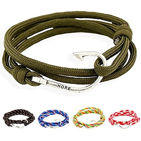 Gnzoe Gioielli Bracciali Uomo/Donne In pelle Perlina Braccialetto Polsino Nautical Navy Anchor Hook Weave