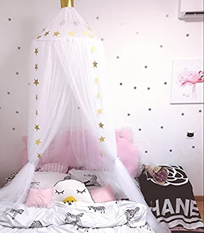 Jeteven Bed Canopy Round Dome Mosquito Net with Crown Playing Tent for Baby Fly Insect Protection Indoor Outdoor Decorative White