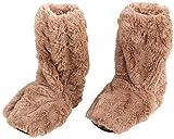 infactory Wärme Socken: Aufwärmbare Flausch-Stiefel mit Leinsamen-Füllung, Größe 39-41 (Hausschuhe)