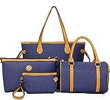 Joker kaufte Vier Neue Luxus Vier Stück Set Baodan Damen Schulter geschleudert großer Kapazität Freizeit Handtasche (Blau)