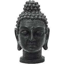 EUROPALMS 83313234 cabeza de Buda, de 75 cm, de edad negro
