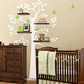 Tree Wall Decal   Shelving Tree Decal With Birds Vinyl Tree Wall Sticker  Nursery Wall Decal