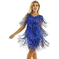 inhzoy Vestido de Baile Latino Lentejuelas para Mujer Vestido de Rumba Tango Salsa Samba Flecos Traje de Baile de Salón Disfraz de Fiesta Dancewear
