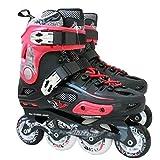 MLSS LI Einzelne Flache Schlittschuhschuhe der Erwachsenen Schlittschuhe Flache Einreihige Schuhe der Schuhe Inline-Skates-Rollschuhe,Red-43
