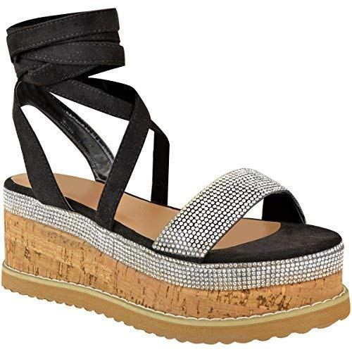 Fashion Thirsty - Heelberry - Sandalias con Plataforma Plana - para Mujer - Ante sintético Negro - EUR 38