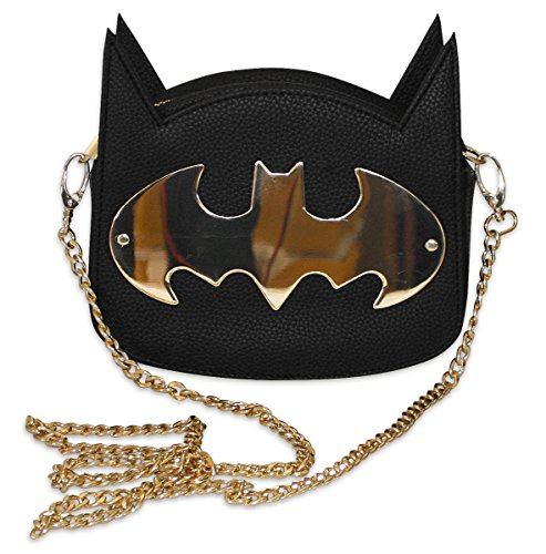 Batman Handtasche Gotham Gold mit Kette Gold, Clutch aus PU-Leder mit Tragekette