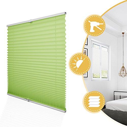 Deswell Plissee Rollo Jalousie ohne Bohren Klemmfix für Fenster & Tür Grün 70 x 120 cm, Plisseerollo Stoff Sonnenschutz leicht zu Montieren & Verspannt