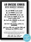 VERGISS NIEMALS - Bild mit Spruch - Rahmen optional - persönliche Geschenkidee Geburtstag Geburt Weihnachten Taufe Einschulung Kinder Sohn Tochter von den Eltern