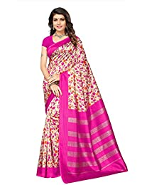 Fabwomen Sarees Floral Print Multicolor Kalamkari Poly Art Silk Traditional Festive Wear Women's Saree/Sari (SOFT...