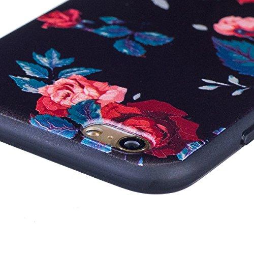 iPhone 6 Handyhülle,iPhone 6S Silikon Schutzhülle,iPhone 6/6S 4.7 Handyhülle,Hpory Flexible Soft TPU Colorful Painted Muster Ultra-thin Schwarz Silicone Gel Handyhülle Handy Gehäuse Hülle für Mädchen Saflor