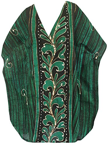 La Leela 100% batik de coton tenue décontractée chemise de nuit courte caftan caftan d'orange Vert