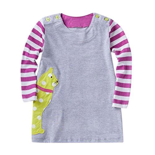 neck Langarm Casual Karikatur Stickerei Party T-Shirt Kleid Kinderkleider Festliche 2-8 T/Jahre (F, 24M) (F Party Kostüm Ideen)