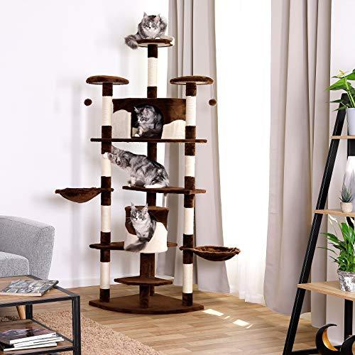 Kratzbaum (als Eck-Kratzbaum geeignet) für Katzen, Katzenkratzbaum, Höhe 200 cm (braun / beige) - 2