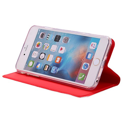 [5.5] BtDuck Cover per iPhone 6 Plus,Cover per iPhone 6S Plus,Glitter Luccichio Modello Ultra Slim Cover Portafoglio Stile Semplice Flip Magnetica Custodia Pelle per iPhone 6 Plus/6S Plus Morbido Sil Rosso