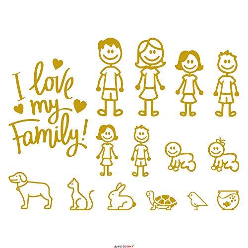 Autodomy Aufkleber Happy Family Pack von 15 für Auto (Gold)