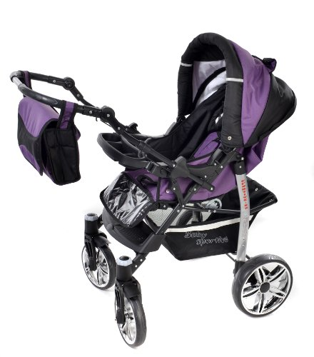 Sportive X2, 3-in-1 Travel System incl. Baby Pram with Swivel Wheels, Car Seat, Pushchair & Accessories (3-in-1 Travel System, Violet & Black)