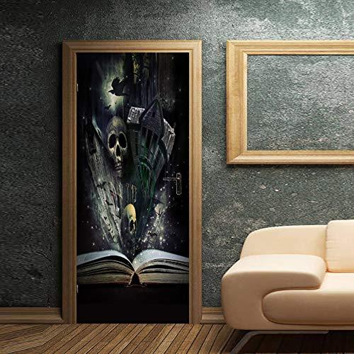 ZJING DIY Simulation tür Aufkleber wandaufkleber Halloween dekorative malerei Aufkleber, 3D Home kinderzimmer schlafsaal Dekoration tapete,F,M