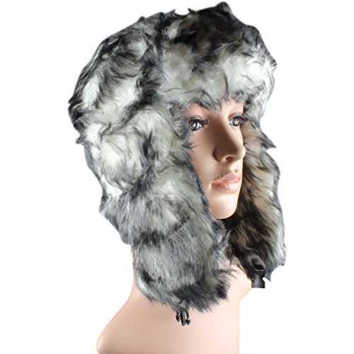 White/Black Fleck Fur Trapper Hat Russian Cossack Ski Hat Warm Winter