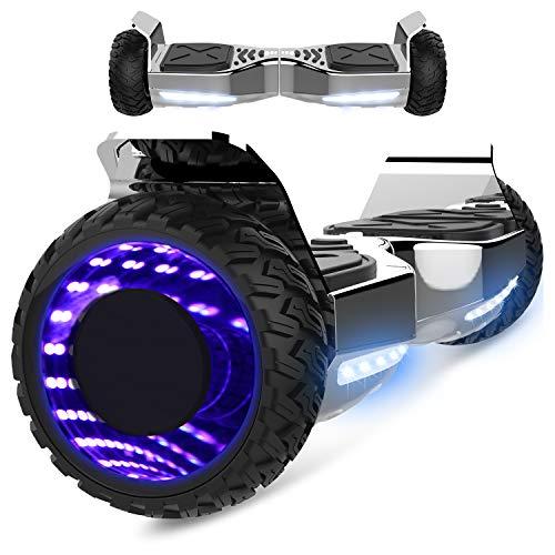 Markboard gyropode Hummer 6.5 Pouces, Gyropode SUV Tout-Terrain Bluetooth LED, Smart Scooter Électrique Auto-équilibrage EL-ES06(argenté)