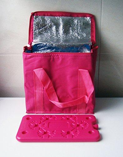 47 Tasche (KÜHLTASCHE 7L 25x23cm pink KÜHLAKKU Isoliertasche Thermotasche Tasche Camping 47)