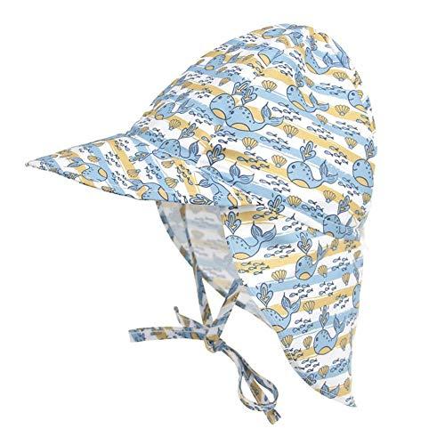 JUNERAIN SPF 50+ Kids Sunscreen Hat Atmungsaktiv Schnelltrocknend Baby Sun Cap (L Whale) - 50 Hat Spf
