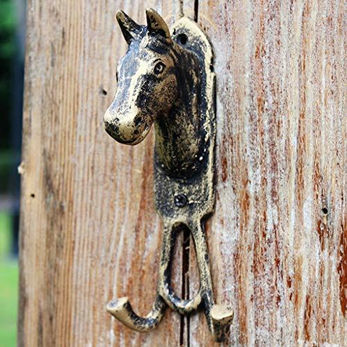 C&S Vintage Horse Head Doble Gancho Hierro Fundido Arte Gancho Colgar en la Pared Decoración de la Pared Gancho Gancho Abrigo Gancho Abrigo Gancho Bronce