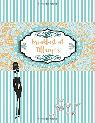 BREAKFAST AT TIFFANY's: Turquoise blue & gold pattern with diamonds and Audrey Hepburn's shade - College classic Ruled Pages Book (8.5 x 11) Large ... to write in (Positive Vibrations, Band 5)