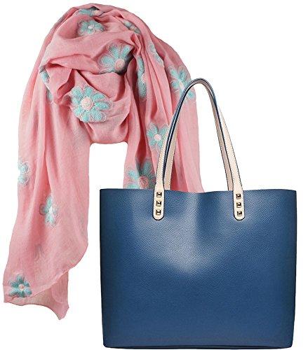 Portogarda Shopper Tasche, City Damenhandtasche, absolut im Trend, als Geschenk- Set mit langem Schal Rosé mit Blüten bestickt -